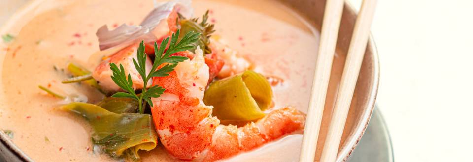 Bouillon thaï aux crevettes