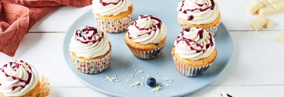 Cupcakes chocolat blanc et myrtilles