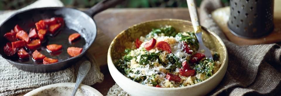 Risotto de quinoa aux épinards et chorizo
