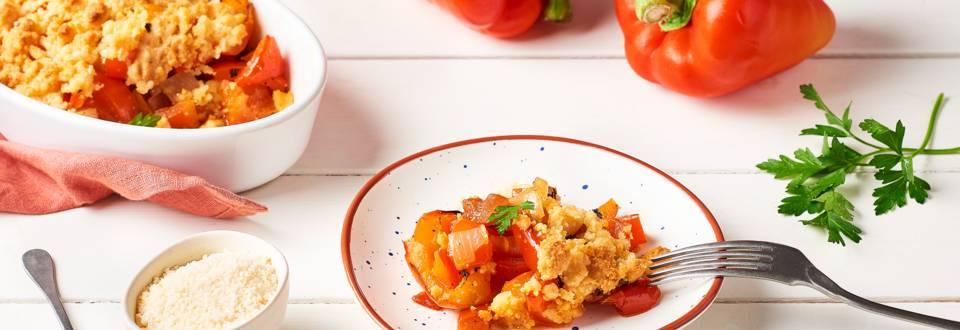 Mini crumble de poivron, chorizo et parmesan