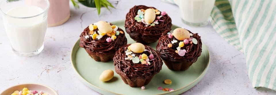 Cupcakes nid de Pâques au chocolat