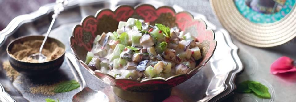 Concombre et aubergines à la sauce raïta