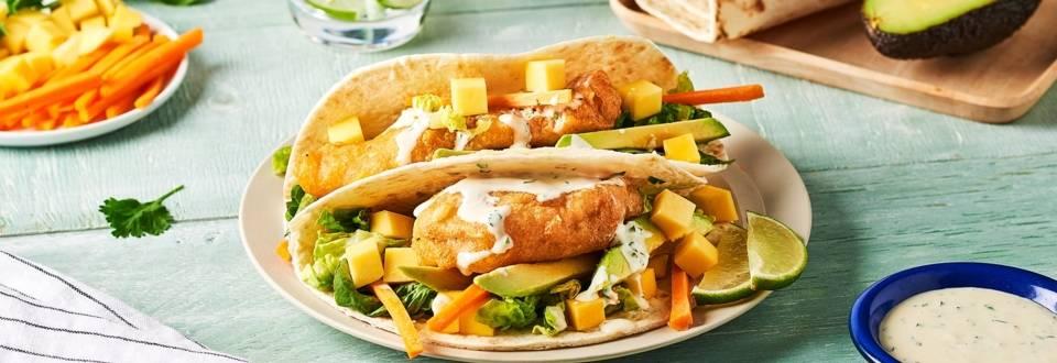 Tacos de poisson et ses légumes crus