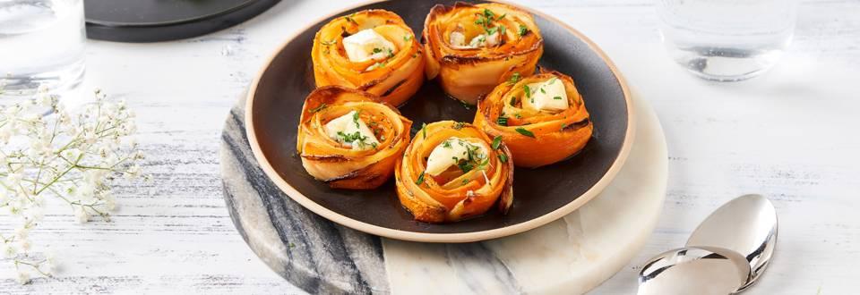Roses de pommes de terre, carotte au coeur de bleu