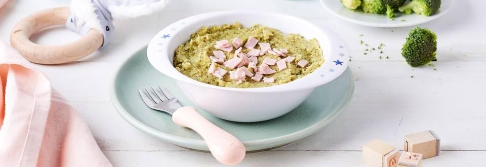 Purée de brocolis, poireaux et  jambon