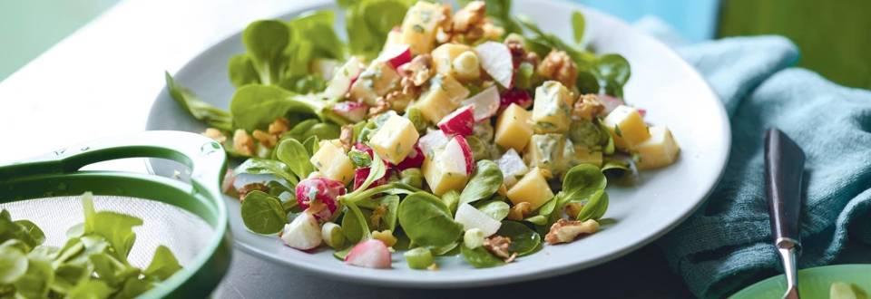 Salade d'emmental, radis et noix