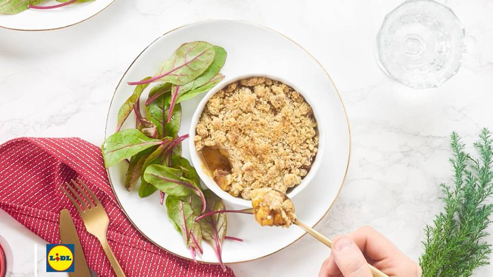 Crumble foie gras et pommes caramélisées