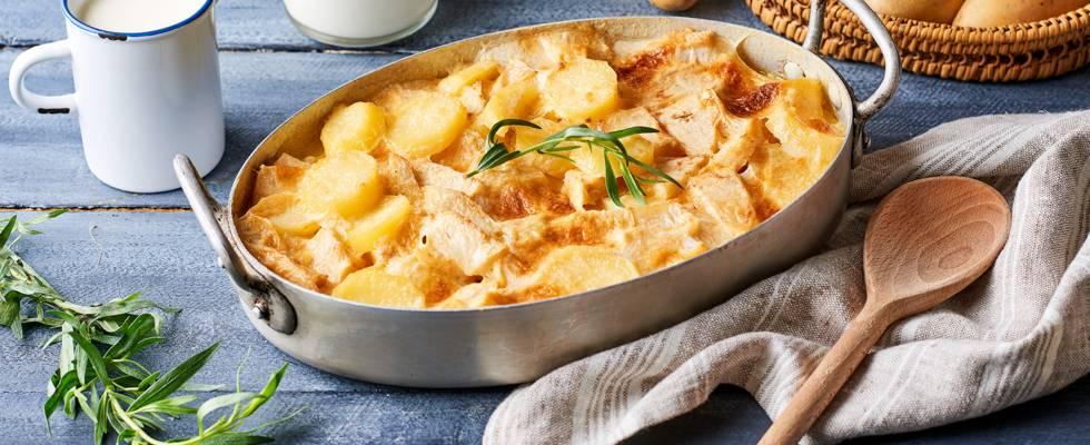 Gratin de céleri, pommes de terre et estragon
