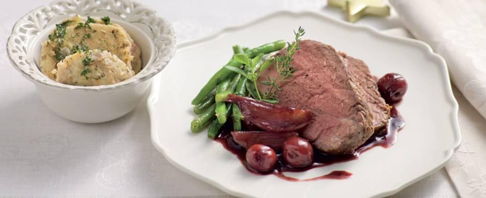 Rôti de bœuf mariné au vin rouge
