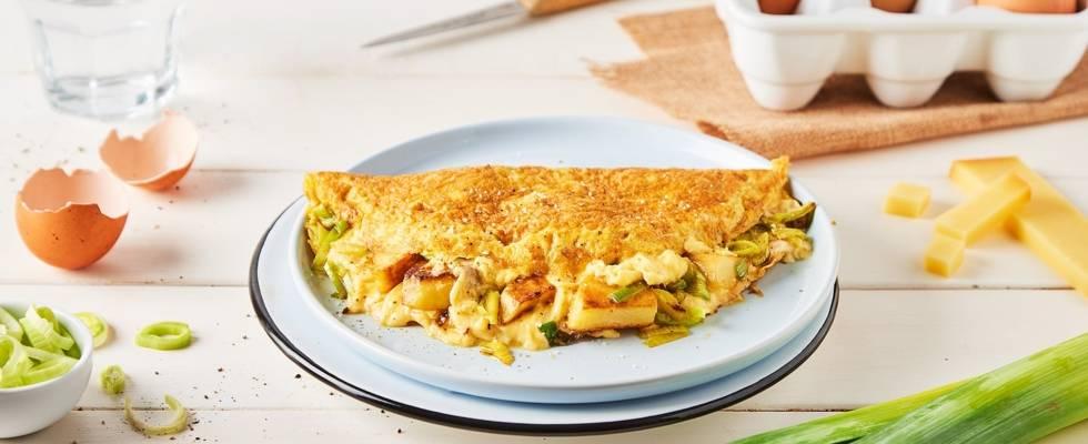 Omelette au poireau et aux pommes de terre