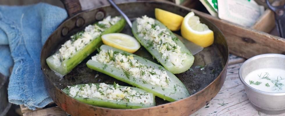 Concombre braisé et farce de poisson et riz