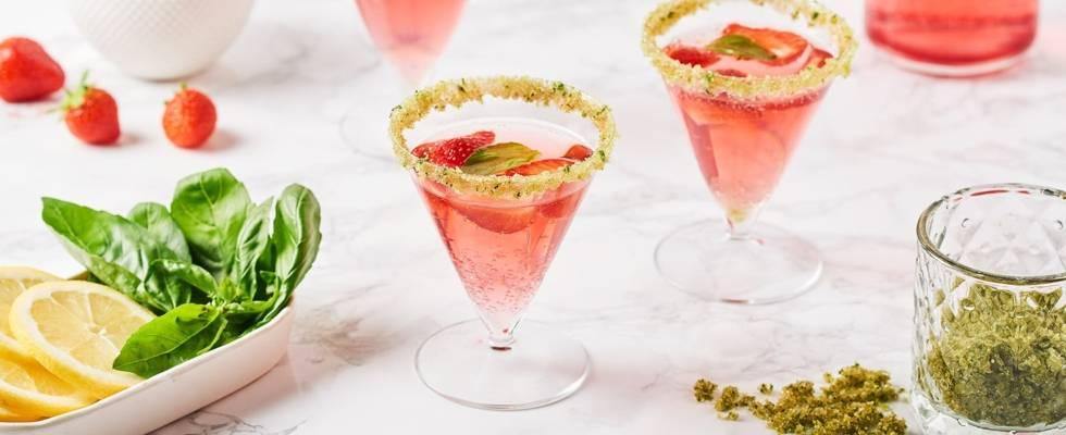 Cocktail citron fraise basilic