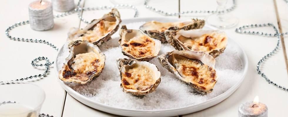 Huîtres chaudes gratinées au vin blanc et parmesan