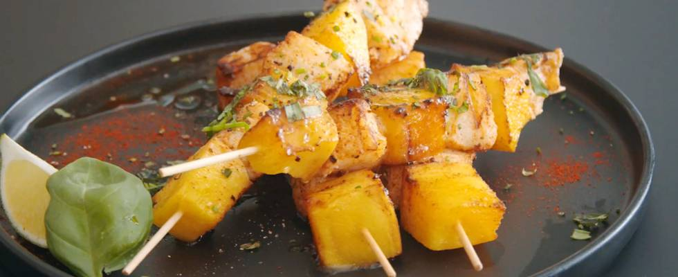 Brochettes cabillaud-mangue